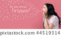 Do you speak Portuguese theme with young woman speaking 44519314