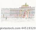 มรดกโลกสกายไลน์ - รัสเซีย - ปีเตอร์สเบิร์ก - ซุ้มประตูด้านหน้าของพระราชวัง 44519320