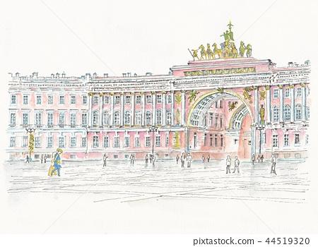 世界遺產地平線 - 俄羅斯 - 彼得斯堡 - 廣場的拱門在宮殿前面的 44519320
