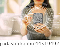 Fingerprint scanning theme  with woman using a smartphone 44519492