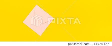 Pastel pink envelope on yellow background 44520127