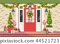 Christmas decoration of entrance doors 44521723