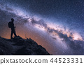 Space with Milky Way and  woman with backpack 44523331