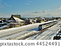 在室兰本线(在Nagamanbu和Shizukari站之间)上运行的Express Hokuto(Kiha 183系列) 44524491