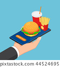 Businessman hand holding smartphone with fast food 44524695