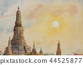 Wat Arun Temple at sunset in bangkok Thailand. 44525877