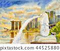 SINGAPORE city skyscrapers. watercolor paintings 44525880