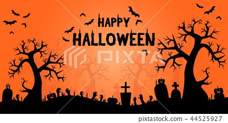 Silhouette Halloween cartoon background wallpaper 44525927