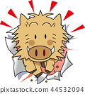sign of the hog, twelfth sign of the chinese zodiac, white background 44532094