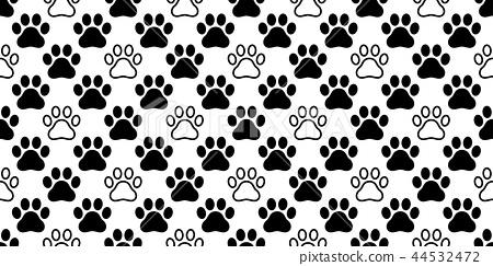 Dog Paw seamless pattern vector footprint cat neko 44532472