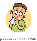 Boy with bleeding nose. Cartoon design icon. Flat vector illustration. Isolated on white background. 44533580