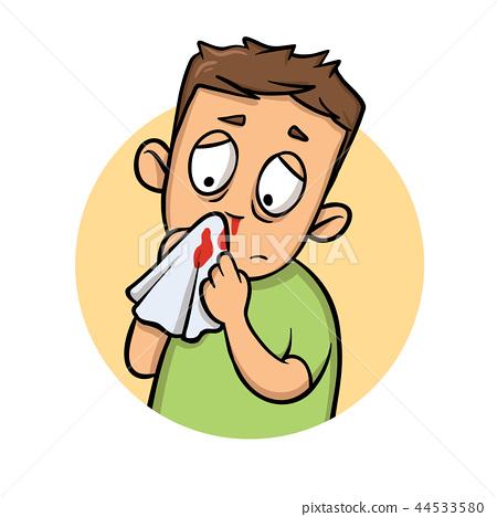 Boy with bleeding nose. Cartoon design icon. Flat vector illustration. Isolated on white background. 44533580