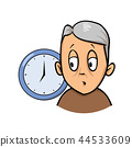 Old man being confused and forgetful about time. Cartoon design icon. Flat vector illustration 44533609
