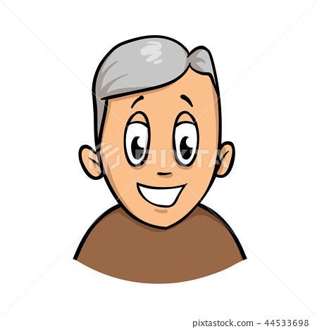 Happy smiling active senior man. Cartoon design icon. Flat vector illustration. Isolated on white 44533698