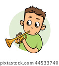 Funny guy playing trumpet. Flat design icon. Flat vector illustration. Isolated on white background. 44533740