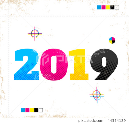 Retro poster for new year 2019 44534129