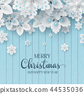 Christmas background with 3d decorative snowflakes 44535036
