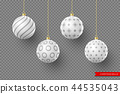 3d Christmas white balls with geometric pattern. 44535043