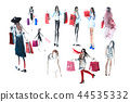 Hand drawn watercolor people with shopping bags. Fashion, sale. 44535332