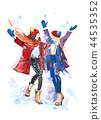 Girls playing with snow. Christmas celebration friendship winter Watercolor. 44535352