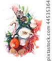 Christmas still life Watercolor. Winter, New year. 44535364