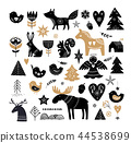 Christmas illustrations, banner design hand drawn elements in Scandinavian style 44538699
