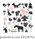 Christmas illustrations, banner design hand drawn elements in Scandinavian style 44538701