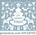 Christmas illustrations, banner design hand drawn elements in Scandinavian style 44538705