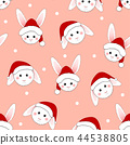 White Rabbit Santa Claus on Pink Background. 44538805