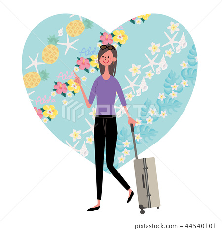 Hawaii Overseas travel woman illustration 44540101