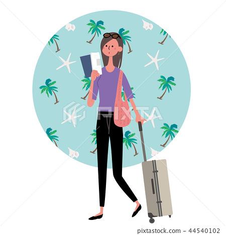 Hawaii Overseas travel woman illustration 44540102