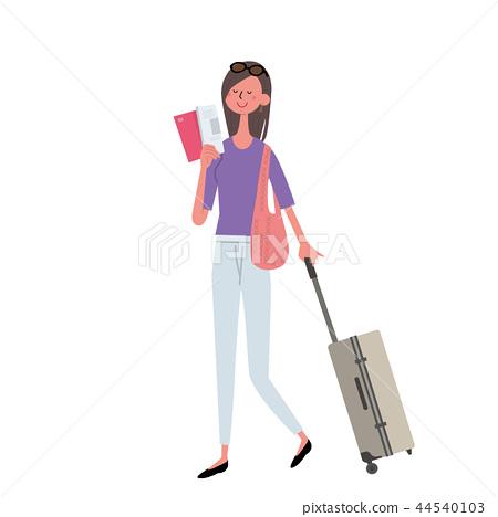 Hawaii Overseas travel woman illustration 44540103
