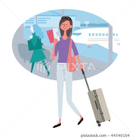 해외 여행 공항 여성 일러스트 44540104