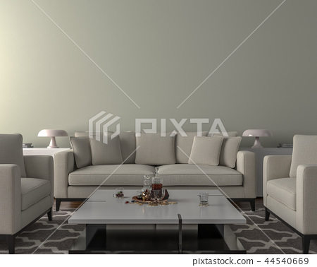 Living room interior - empty wall background 44540669