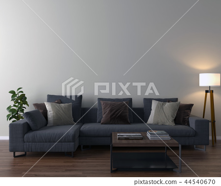 Living room interior - empty wall background 44540670