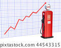 Gas pump with growing chart. 3D rendering 44543315