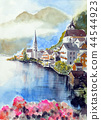 Watercolor painting of Hallstatt Lake 44544923