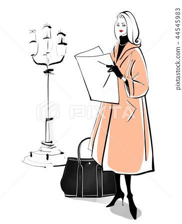 가로등과 여성 베이지 코트 44545983