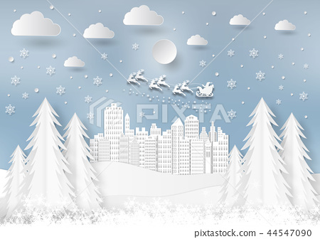 Winter season with snowflake and santa in town 44547090