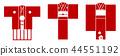벡터 기모노 설날 아이콘 세트 44551192