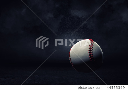 3d rendering of a white ball with red seams for American baseball game hanging on a dark background. 44553349