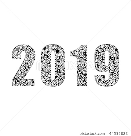 2019 New Year, Christmas. The Bubbles Dots Shape. 44553828