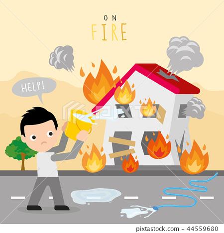 Fire Burn House Home Boy Danger Help Vector 44559680