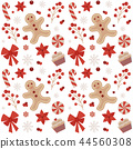 Christmas Seamless Pattern with Gingerbread Man 44560308