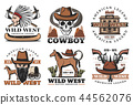 Wild West icons, cowboy and horses 44562076