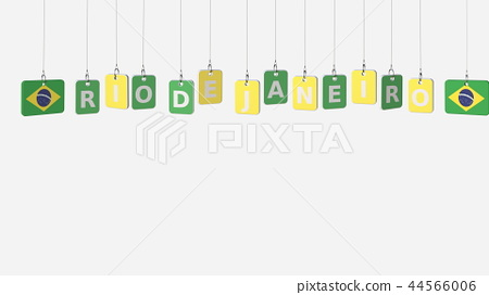 Flags of BRAZIL and Rio de Janeiro text on hanging plates. 3D rendering 44566006