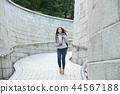 年輕的女人,大學生,韓國,旅行,石牆,相機,首爾 44567188