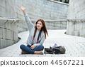年輕的女人,大學生,韓國,旅行,石牆,相機,首爾 44567221