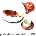Gohei Tsuji和茶壺和日本茶畫水彩 44567390