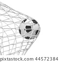 3d rendering of a football ball hitting the net inside the gate on white background. 44572384